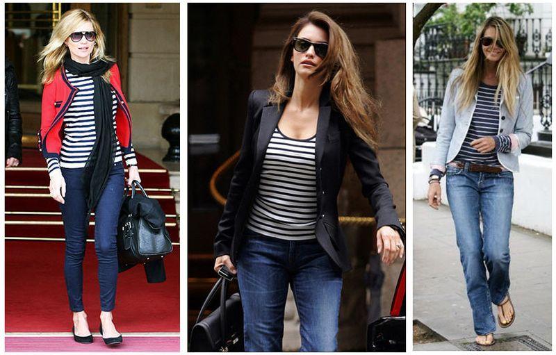 Kate moss penelope cruz elle macpherson striped shirts