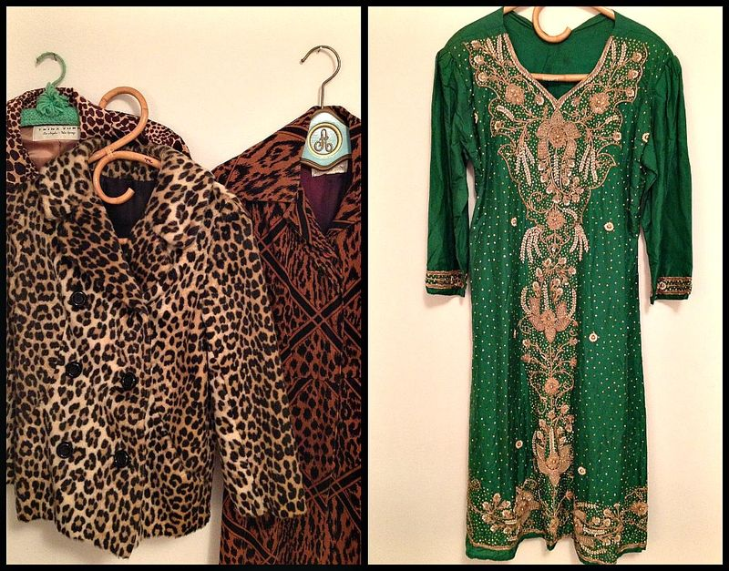 Leopard and vintage Indian dress